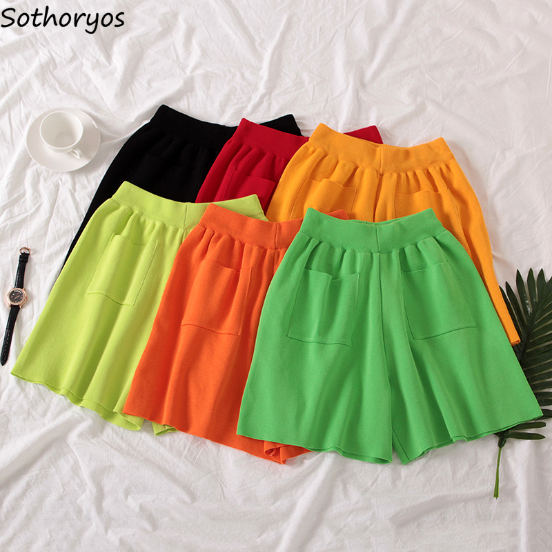 Shorts Women Summer Knitting High-waist Slim Pockets Wide Leg Knee-length Korean Style Soft Womens Trendy Leisure Ulzzang Chic