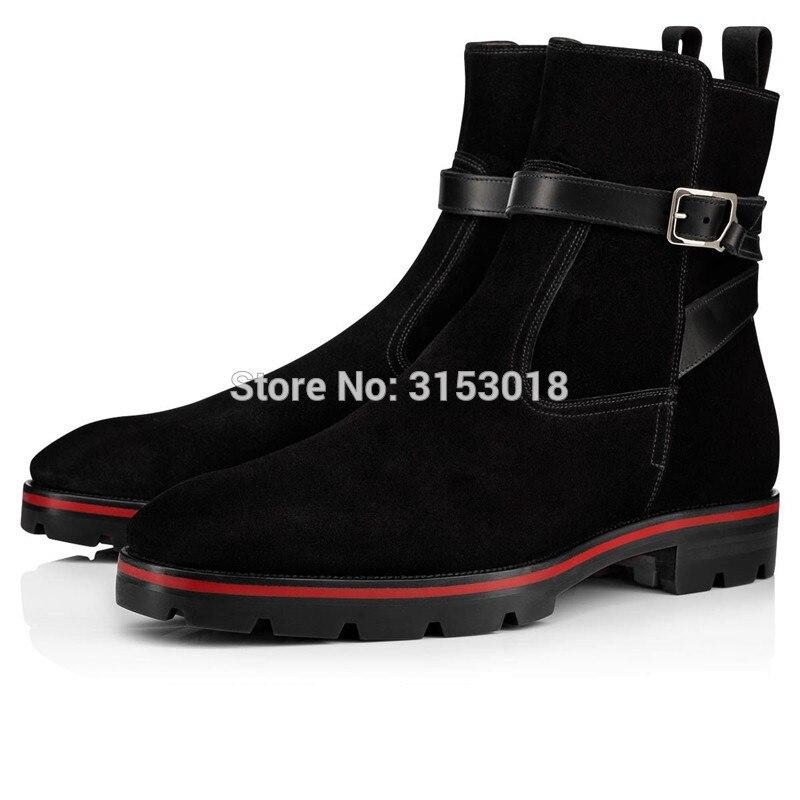 Qianruiti/мужские замшевые ботинки, Модные ботильоны, дизайнерские ботинки на низком каблуке и платформе, Осень зима 2019