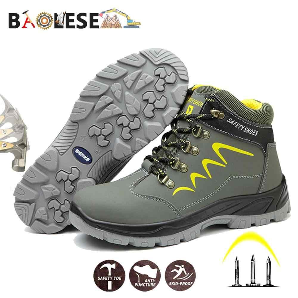 Baolesem homem sapatos de segurança de inverno homem sapatos de trabalho à prova de água sapatos de trabalho anti-smashing durável sapatos de segurança para homem