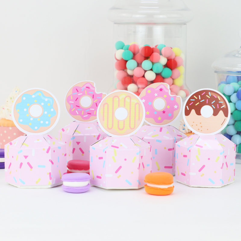 Donut Party Birthday Donut Growth Happy Birthday Candy Box Cake Head Party Like Bags Decorated With Banner Donut Walls