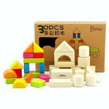 30 шт красочные деревянные строительные блоки детские игрушки