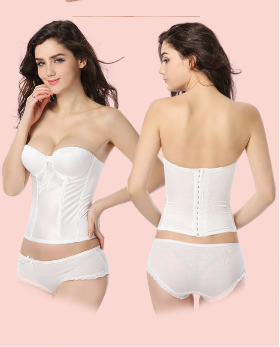 Bridal Corset Busteir Top Shapewell Corset Posh Up Wedding Lingerie Set With Underwear And Straps