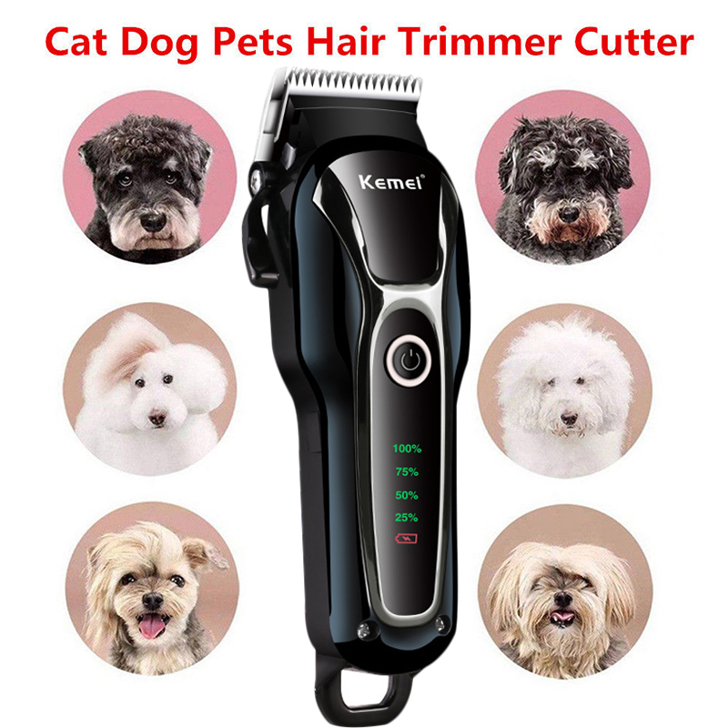 Electrical Pet Hair Trimmer Rechargeable Pet Dog Cat Low-noise Hair Clipper Grooming Shaver Cut Machine Set for pet 100-240v image