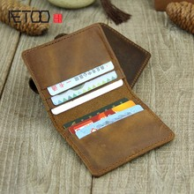 AETOO Handmade small card package six card bit full leather coin purse Crazy horse leather first layer cowhide card bit driver l the first layer of crazy horse leather money man card wallet zipper coin large loading capacity 1007