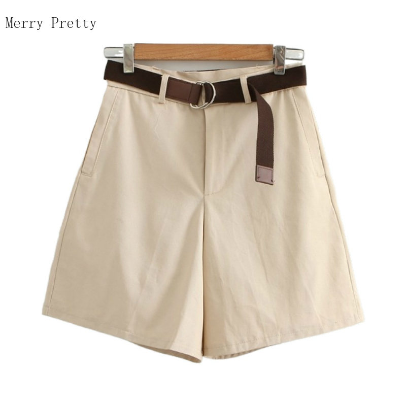 2020 Summer Cotton Shorts For Women Fashion Solid Pockets High Waist Loose Hot Shorts With Belt Femme Bottoms