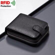 2021 Smart Wallet men wallets Card Holder Rfid 100% Genuine Leather Card Wallet Vintage Coin Pocket Money bag tarjetero hombre