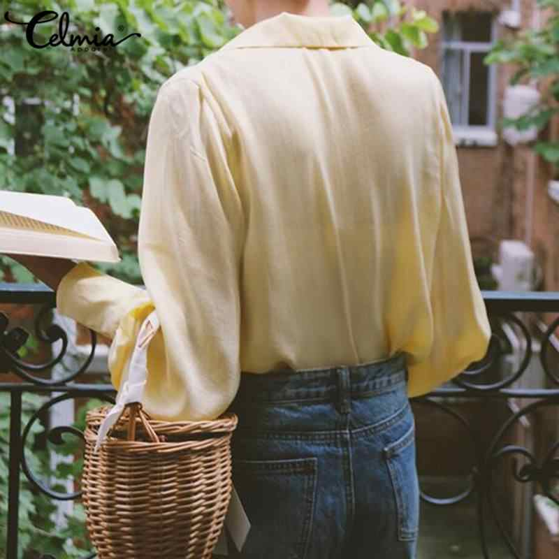 Celmia Plus Size Solid Blouses Vrouwen 2020 Zomer Toevallige Lange Mouwen Tuniek Tops Dames Sexy V-hals Losse Shirt Elegant Blusas 5XL