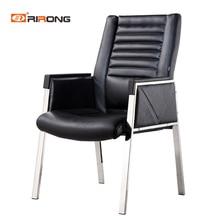Черный цвет из натуральной кожи с подлокотниками без колеса Конференц-зал офисный стул