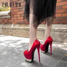 NIUFUNI Women 17cm Ultra High Heels Mary Janes Wedding Pumps Peep Toe Sexy Nightclub Party Shoes Ladies Platform 8cm Thin Heels cheap Patent Leather Super High (8cm-up) Buckle Summer Slip-On 7cm And Up Fits true to size take your normal size Rubber