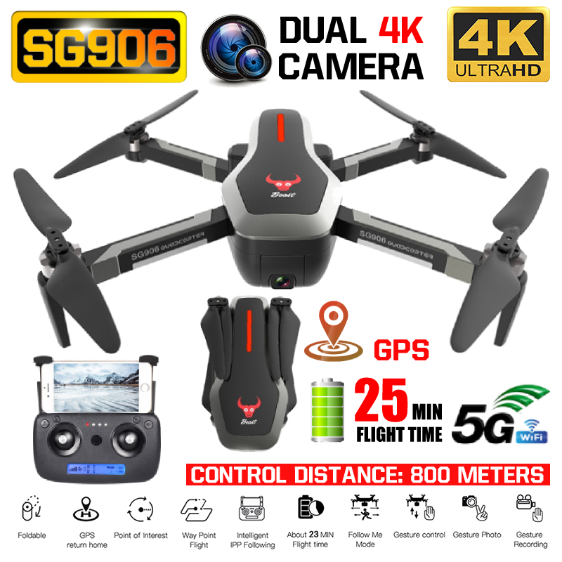 RC Quadcopter SG906 Drone GPS 4K HD Camera 5G WIFI FPV Brushless Motor Foldable Selfie Drones Professional 800m Long Distance