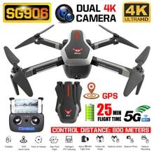 Rc quadcopter sg906 zangão gps 4 k hd câmera 5g wifi fpv motor sem escova dobrável selfie drones profissional 800m de longa distância