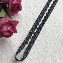 Ruban de coton noir en dentelle fait à la main pour enfant, couture artisanale, patchwork, garniture de mariage, 1,5 cm
