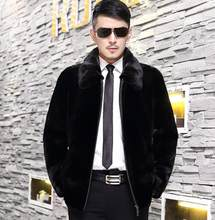 Herbst faux pelz leder jacke herren winter verdicken warme schwarz pelz leder mantel männer lose jacken jaqueta de couro mode b162(China)