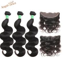 Волнистые бразильские пучки Angel Grace с 13*4 коричневыми/прозрачными фронтальными волосами Remy, 3 пряди с фронтальной застежкой