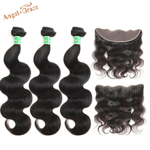Angel Grace Brazilian Body Wave Bundles With 13*4 Brown/Transparent Lace Frontal Closure Remy Human Hair 3 Bundles With Frontal