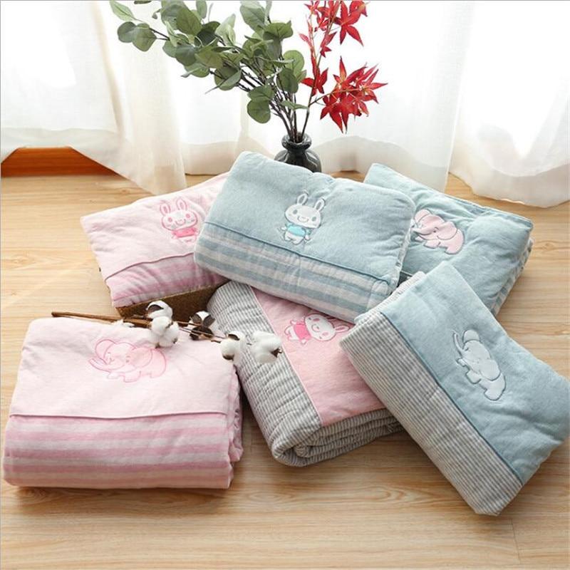 110*140cm Baby Blanket & Swaddling Newborn Wrap Blankets Thermal Soft Cotton Quilt For Bed Sofa Basket Stroller Blankets