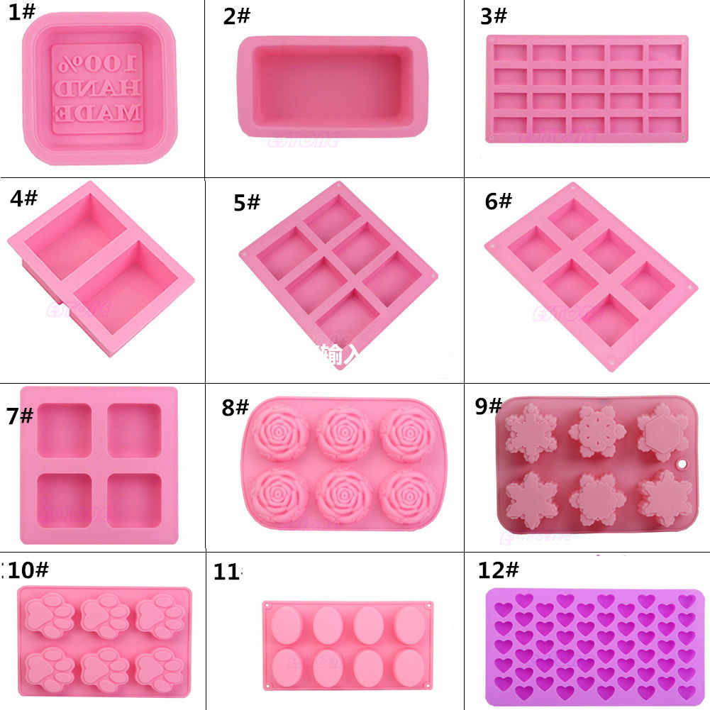 Hot Silicone Ice Cube Candy Chocolate Cake Cookie Cupcake Molds Soap Mould DIY 12 shape Rectangle Square Rose