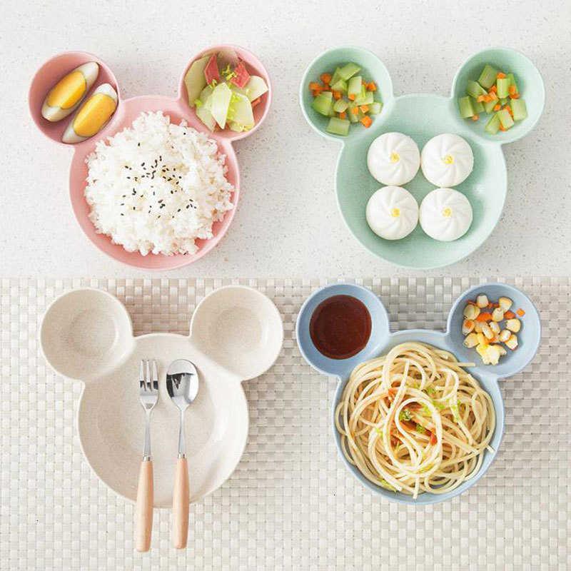 Juego de vajilla de dibujos animados infantil plato de alimentación para niños cuenco de entrenamiento y cuchara cuenco de bebé platos para niños platos de plástico