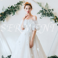 White Style Embroidery Flower Lace Neck Line Wedding Dress Off The Shoulder Simple Empire Design Strapless Silky Organza