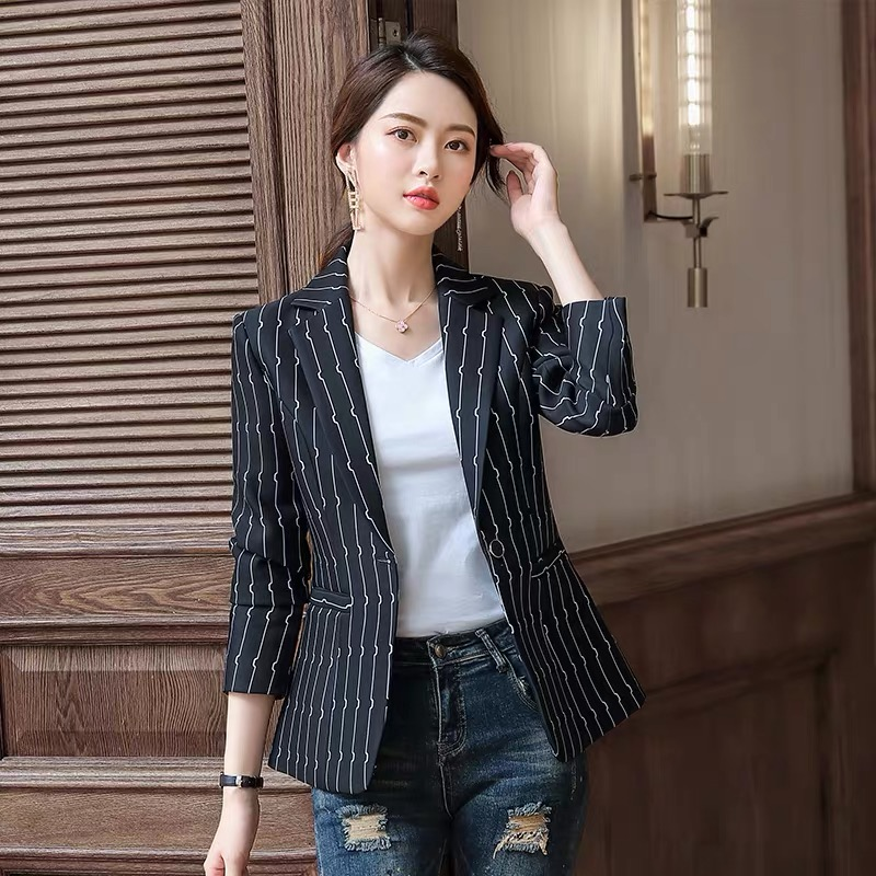 New autumn striped small suit jacket female Korean version of the temperament wild small incense style Slim casual