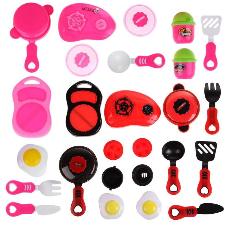 Kids Plastic Kitchen Ware Cooking Pretend Play Kitchen Toys Set Cooking Pans Dishes Toy Cookware Set Toys For Girls Children