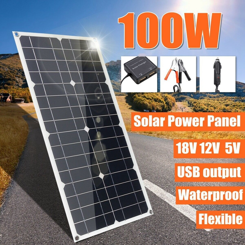 100W Mono Solar Panel Monocrystalline Dual USB Battery Flexible Charger Camping