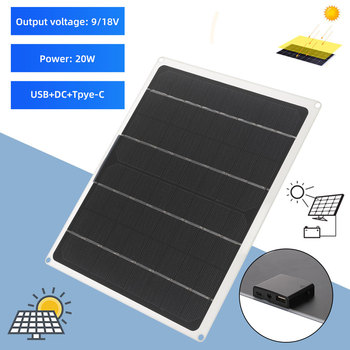 12V 10W solar panel USB+DC+ TPYE-C Mini Solar System DIY for battery cell phone charger portable