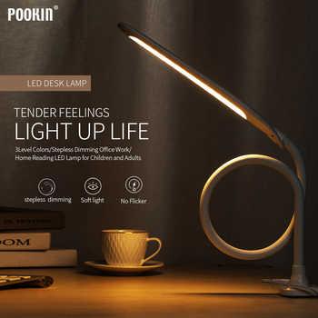 Lámpara de mesa de brazo largo Led Flexible cuello de cisne táctil atenuación lámpara de escritorio con Clip en la lámpara para la lectura de la luz Led de dormitorio 3 modos de Color