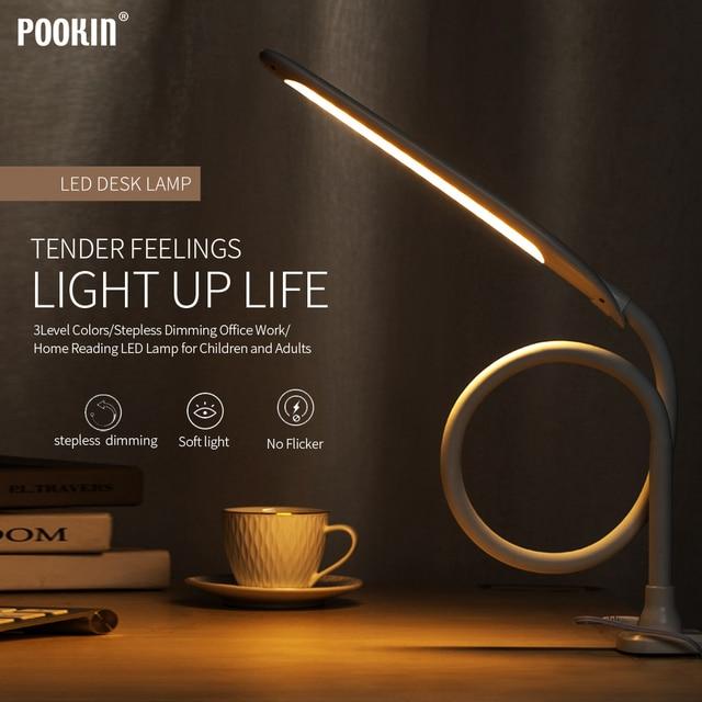 $ US $28.55 Long Arm Table Lamp Led Flexible Gooseneck Touch Dimming Desk Lamp Clip On Lamp For Reading Bedroom Led Light 3 Color Modes