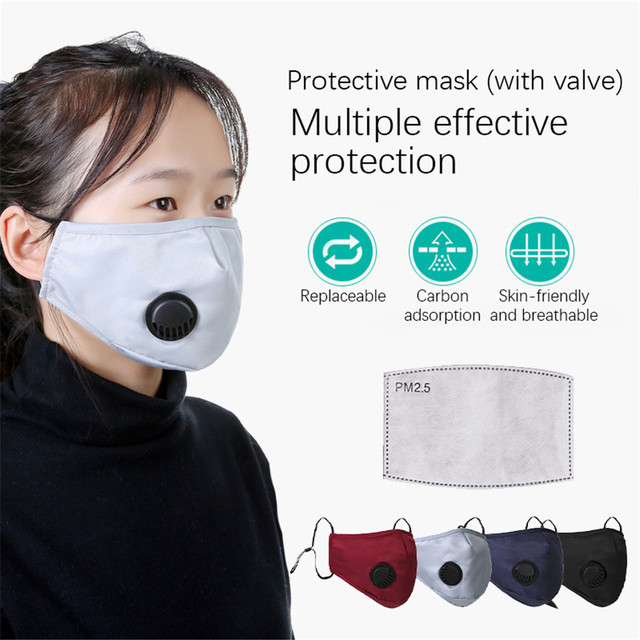 1-50pcs Reusable Washable Face Mask Mouth Masks PM2.5 Anti Dust Pollution Cotton Activated Carbon Filter Valve Facemask New
