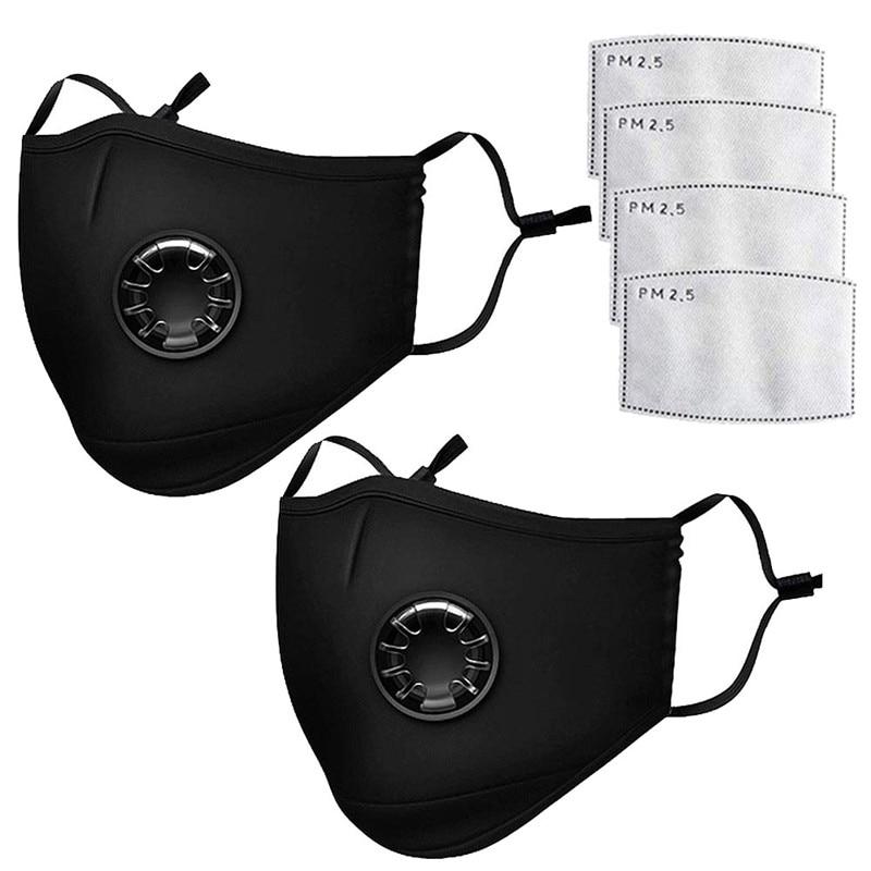 5 Mask +10 Filter Cotton PM2.5 Black Mask Dust Mask Activated Carbon Filter Windbreak Virus Antiflu Care Filter Cotton Reusable