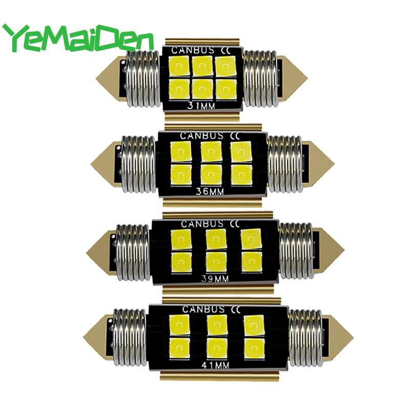 1x C5W LED Canubs Error Free C10W LED Bulb Festoon 31mm 36mm 39mm 41mm 12V  White 6 SMD Interior Doom Light License Plate Lamp