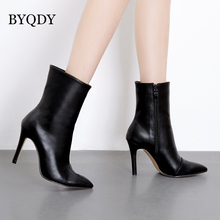 BYQDY Autumn Winter Woman Ankle Boots Fashion PU Leather Thin High Heels Western Pointed Toe Zipper Solid Black Shoes