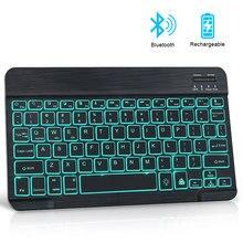Miniteclado inalámbrico por Bluetooth RGB con retroiluminación, teclado Russain para Notebook, ipad, tableta, teléfono, portátil, PC