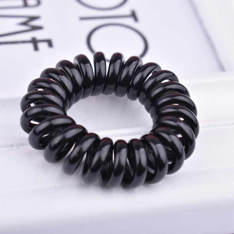 ロット5個サイズ3.5センチメートル黒/透明電話回線ガム弾性ガールアクセサリースプリング明確なヘアロープ