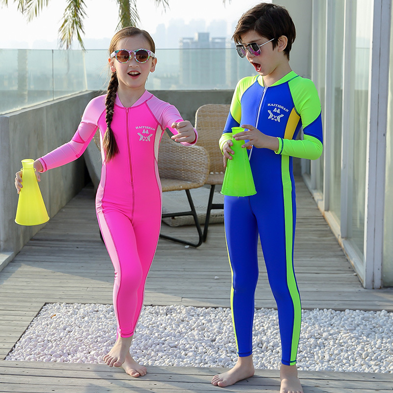 Middle And Large Children One-piece Trousers Long Sleeve Men And Women KID'S Swimwear Diving Surfing Jellyfish Service Sun-resis