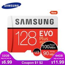 SAMSUNG новые карты памяти Micro SD карты EVO+ 128 ГБ 64 ГБ 32 ГБ 95 МБ/с. 100 МБ/с. C10 SDHC SDXC U1 U3 карты памяти 64 г 32 г карта карта памяти для телефона микро сд карта памяти micro sd