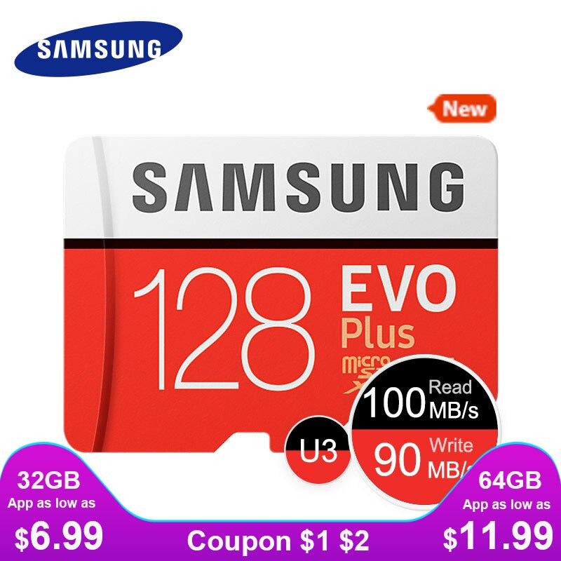 SAMSUNG nuevo Micro SD tarjeta de memoria EVO + 128 GB 64 GB 32 GB 95 MB/S 100 MB/S C10 SDHC SDXC U1 U3 TF 64G 32G tarjetas 100% Original cartão de memória  tarjeta micro sd