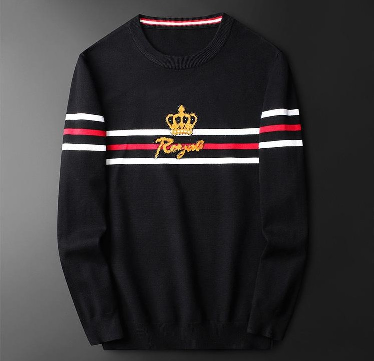 New 2019 Men Luxury Winter Stripe Embroidered Diamond Bee Royal Casual Sweaters Pullover Asian Plug Size High Quality Drake #M81