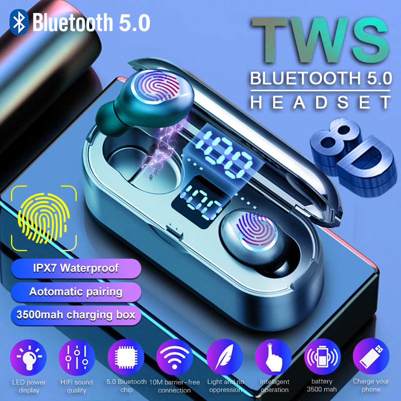 Wireless Earphone Bluetooth 5.0 LED Display F9 PK S11 TWS Bluetooth Headphone Earbud 8D Stereo Headset With 3500mAh Power Bank
