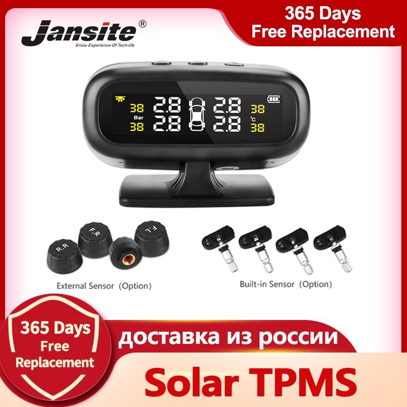 Jansite Система контроля давления в шинах, TPMS с солнечной батареей, предупреждением о температуре и 4 датчиками, для экономии топлива автосигна...