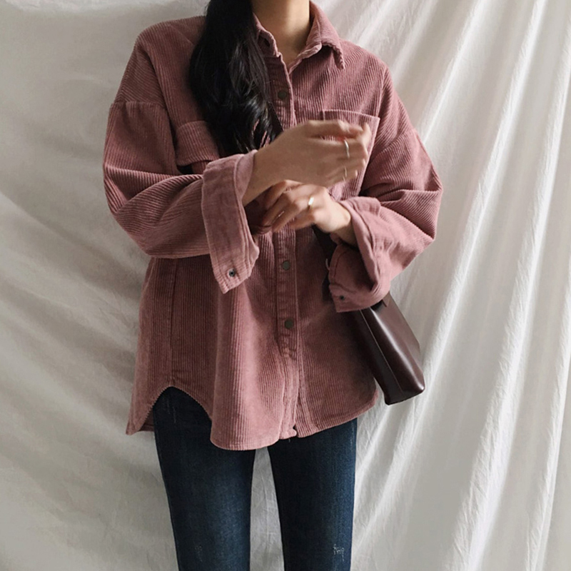 [EAM] Loose Fit Apricot Corduroy Big Size Jacket New Lapel Long Sleeve Women Coat Fashion Tide Spring Autumn 2020 1DA744 5