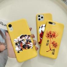 Anime japonês tóquio ghoul japão suave caso de telefone silicone macio para o iphone 12 11 pro max x xr xs 8 7 6 plus mini capa amarela