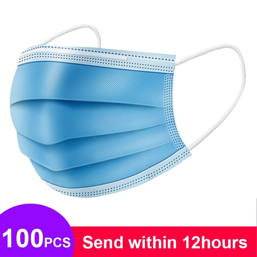100 шт Нетканые 3 слойные противопылевые маски одноразовые безопасные дышащие маски для рта для взрослых защитные маски для ушей|Пылезащитные респираторы|   | АлиЭкспресс