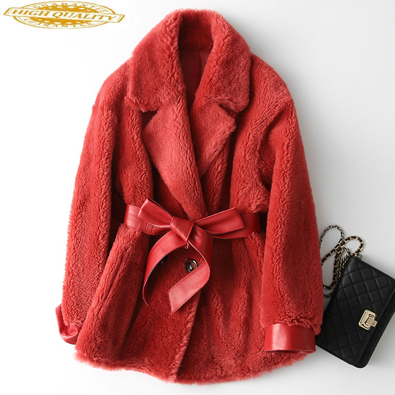 2020 New Winter Real Fur Coat Women Sheep Shearing Wool Jacket Korean Furry Womens Jackets Manteau Femme KQN18220 KJ2950