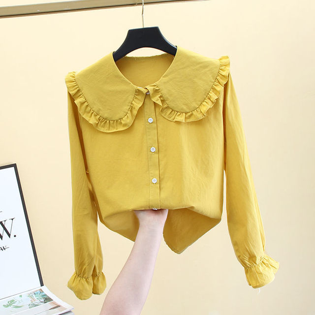 2020 New Butterfly Hollow Out Peter Pan Collar White Long Sleeve Shirt Blouse Sweet Chiffon Solid Korean Fashion Clothing K147 4