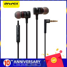 цена на Awei ES-70TY 3.5mm Aux Audio In-Ear Earphone Metal Heavy Bass Sound Music Headset With Mic Fone De Ouvido Earphone For Phone
