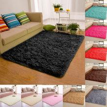 Alfombra esponjosa de felpa para sala de estar, alfombrillas suaves antideslizantes para dormitorio y habitación de niños, de alta calidad