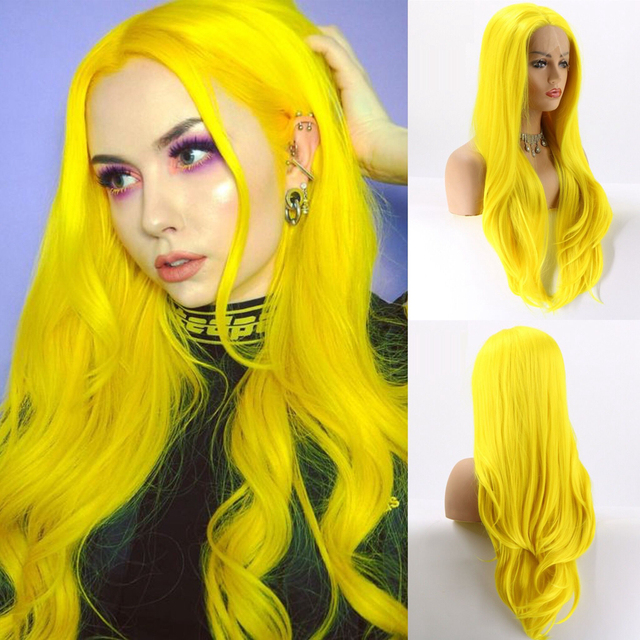Lvcheryl Yellow Color Natural Straight Hand tied Heat Resistant Hair Synthetic Lace Front Wigs for Cosplay Drag Queen Make up