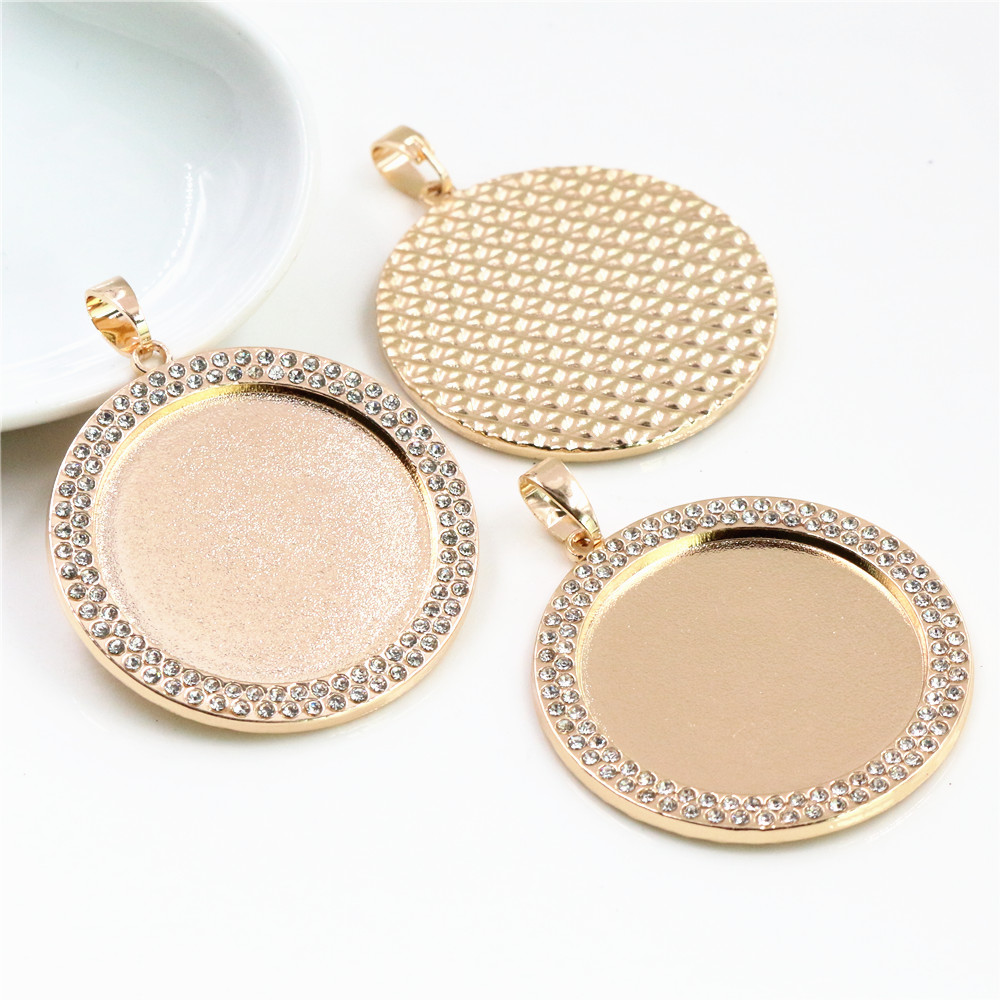 New Fashion 2pcs 30mm Inner Size KC Gold Color Transparent Colors Rhinestone Cabochon Base Setting Charms Pendant-B7-21